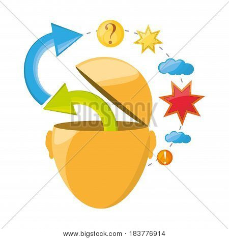 man inspired in different ideas and knowledge, vector illustration