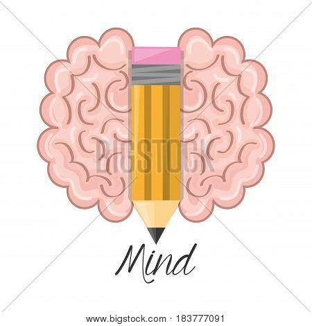 brain and pencil symbolizing the creativity, vector illustration