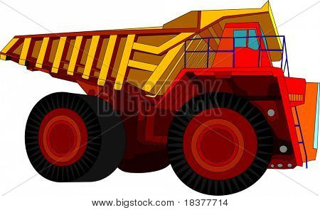 vector - big red truck isolated on white background