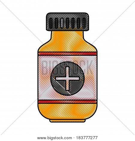 color blurred stripe of remedy bottle with tap and label vector illustration