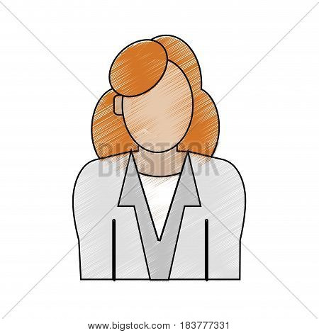 color pencil half body faceless woman with executive suit vector illustration
