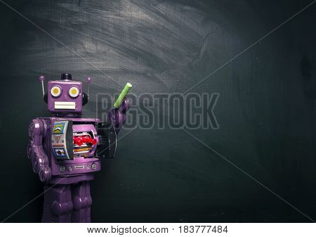 purple robot teacher and black board