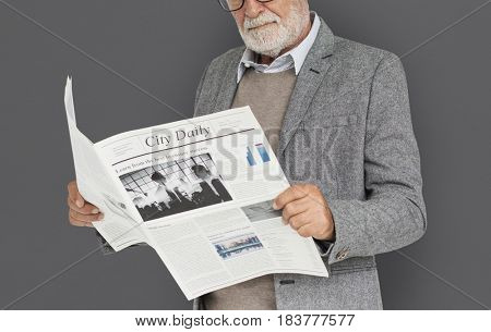 Business Man Reading Newspaper Concept