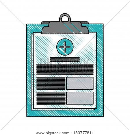 color blurred stripe of table notepad medical with sheets and text vector illustration