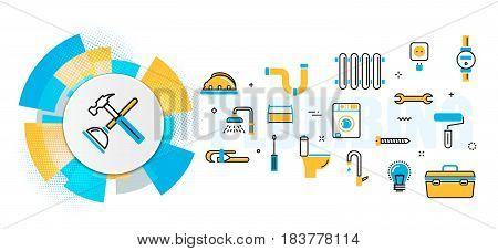 Flat line vector design concept of plumbing and handyman service house problems painting repair banner for website header and landing page in circles digital element linear timeline infographics