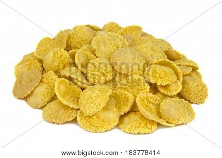 corn flakes on white background, tasty, natural, top view