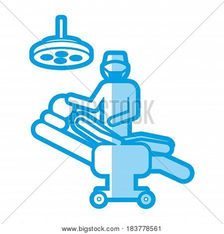 blue shading silhouette with pictogram person with surgeon vector illustration