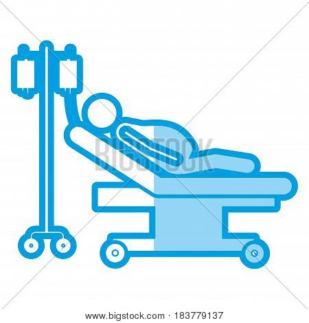 blue shading silhouette with pregnant woman in stretcher clinical vector illustration