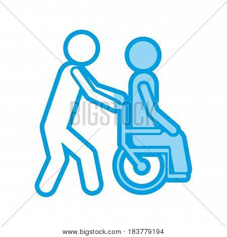 blue shading silhouette with person helping another push a wheelchair vector illustration