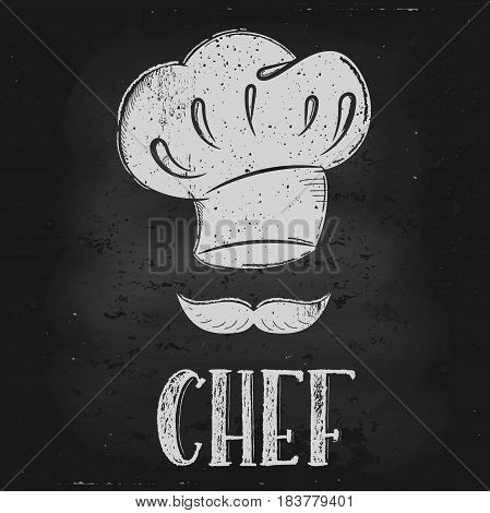 Vector hand drawn illustration. Hat chef is drawn on the chalk Board. The idea for a cafe restaurant kitchen poster.