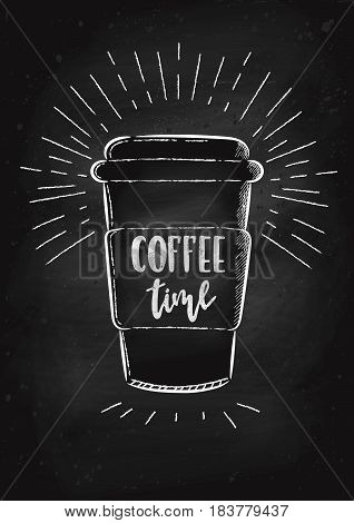 Vector hand drawn illustration. A coffee Cup is drawn on the chalk Board. The idea for a cafe restaurant poster.