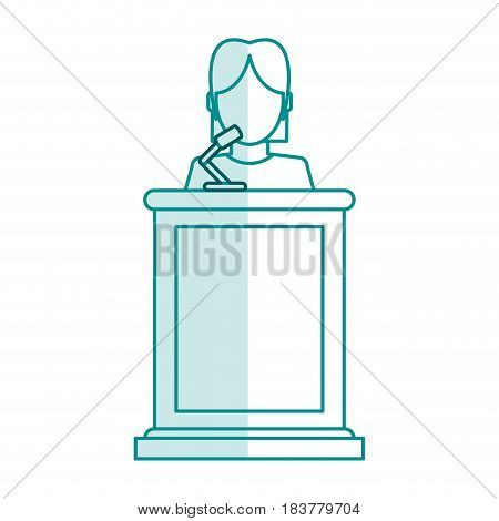 blue silhouette shading faceless person in law courts with microphone vector illustration