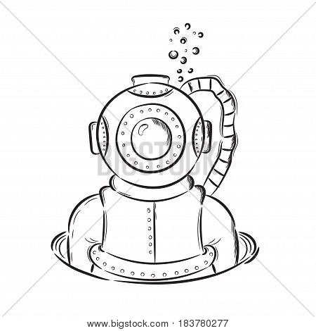 Hand drawn illustration diver retro vintage. Idea for a t-shirt poster signs.