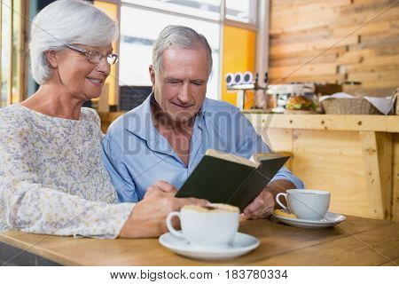 Senior couple reading book while having coffee in cafe