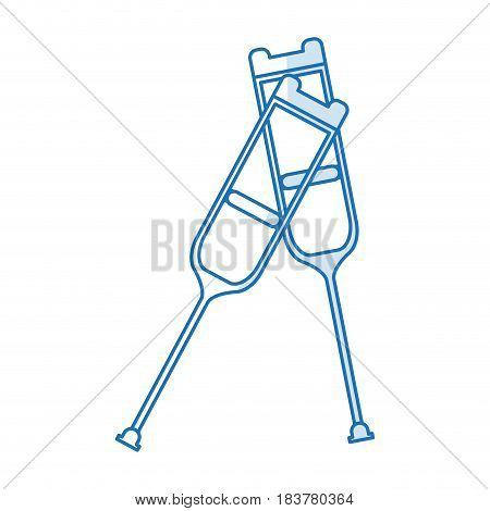 blue silhouette shading pair of medical crutches icon vector illustration