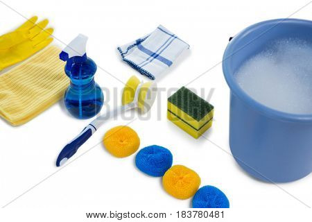 High angle view of bucket and cleaning equipment against white background