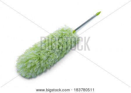 Close up of green duster against white background