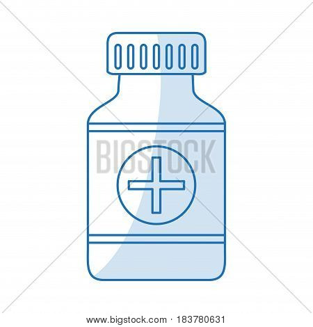 blue silhouette shading remedy bottle with tap and label vector illustration