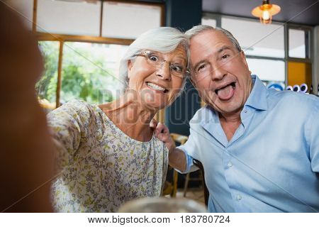Happy senior couple having fun in café