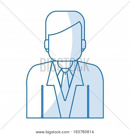 blue silhouette shading half body faceless man with executive suit vector illustration