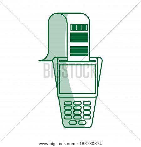 green silhouette shading dataphone with receipter paper vector illustration