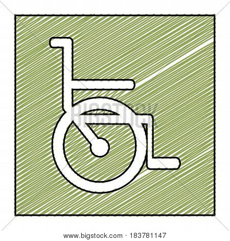 color pencil drawing square frame with wheelchair icon vector illustration