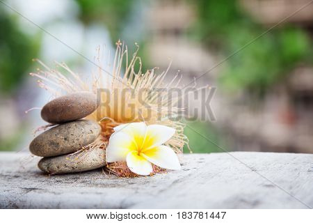 Thai eastern wellness healthy background with stones and flowers