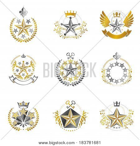 Military Stars emblems set. Heraldic vector design elements collection. Retro style label heraldry logo.