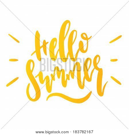 Hand drawn illustration Hello summer. Isolated Typographic Design Label. Enjoy The Beach party