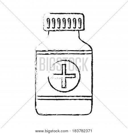 blurred silhouette remedy bottle with tap and label vector illustration