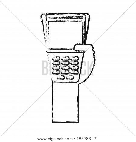 blurred silhouette hand holding a dataphone digital device vector illustration
