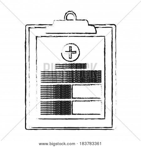 blurred silhouette table notepad medical with sheets and text vector illustration