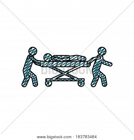 color pencil drawing of pictogram paramedics with patient in stretcher vector illustration