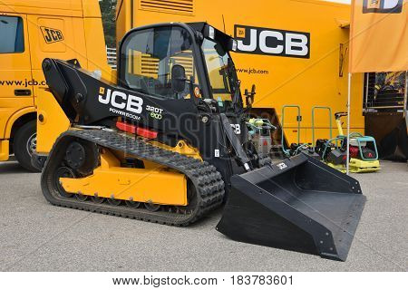 VILNIUS LITHUANIA - APRIL 27: JCB 320T vertical lift compact track loader on April 27 2017 in Vilnius Lithuania. JCB corporation is manufacturing equipment for construction and agriculture.