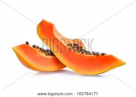 sliced of fresh papaya isolated on white background