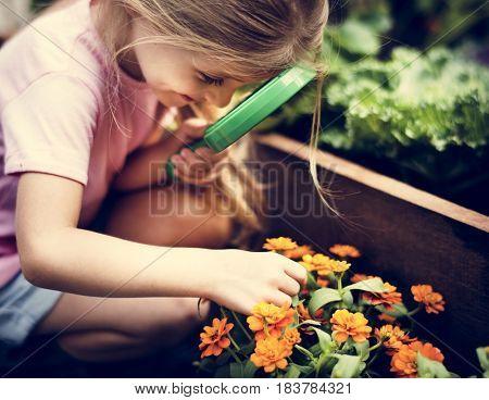 Little girl learning plant biology flower
