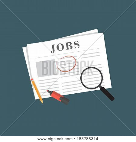 Search The Job on Newspaper Illustration. Newspaper on Job Vacancy Page, Magnifying Glass, Pencil and Highlighter