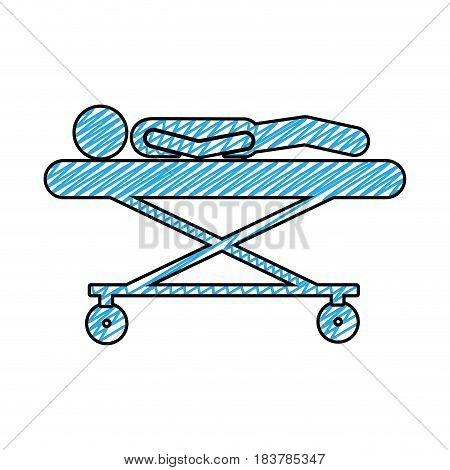 color pencil drawing of pictogram lay down patient in stretcher clinical vector illustration