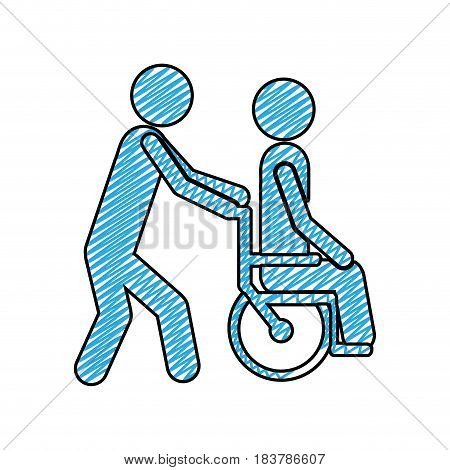 color pencil drawing of person helping another push a wheelchair vector illustration