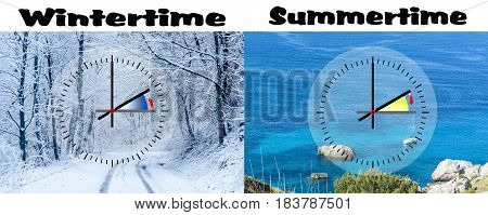 Representation of winter time vs. summer time digits with minute hand and red second hand. Copy space in front of sky and cloud background.