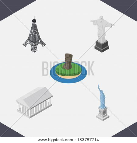 Isometric Attraction Set Of Paris, Rio, New York And Other Vector Objects. Also Includes Museum, Christ, Liberty Elements.