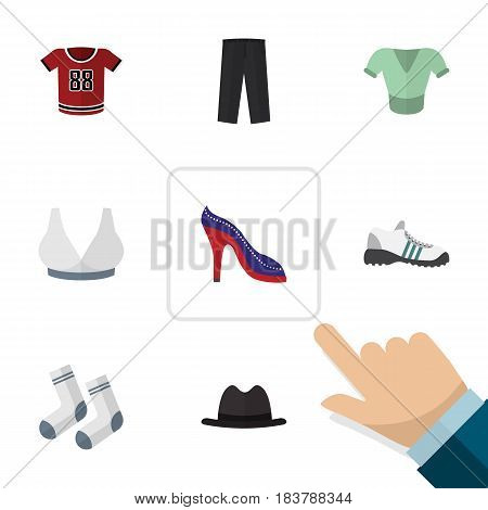 Flat Garment Set Of Foot Textile, Brasserie, Casual And Other Vector Objects. Also Includes Shoes, Gumshoes, Panama Elements.