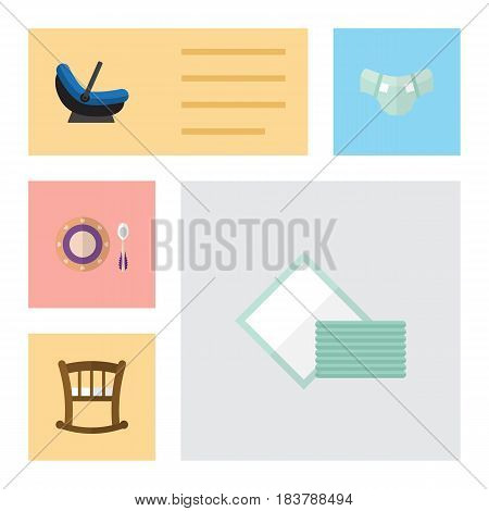 Flat Baby Set Of Nappy, Napkin, Pram And Other Vector Objects. Also Includes Plate, Bed, Dish Elements.