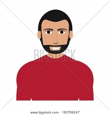 bearded handsome man with muscular body icon image vector illustration design
