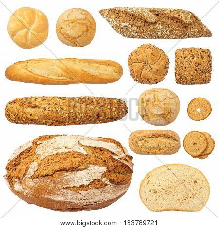 Bread and Bakery Products Isolated on White. Different types of bread: sesame bun baguette baked rolls rustic bread round bun sesame bun.