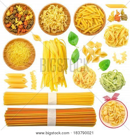 Pasta Set Isolated on White Background with different types: spaghetti penne conchiglie pasta in bowls basil leaves etc.