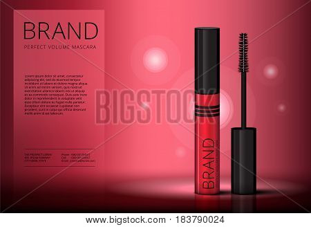 Mascara Brush Vector Banner Mock-up Advertising. Realistic 3D Red Eyelash Or Eyecleaner Package Desi