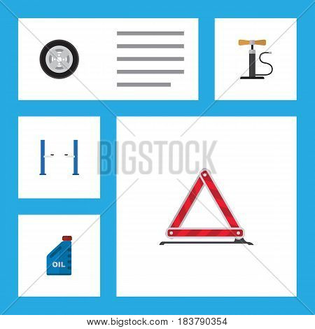 Flat Service Set Of Petrol, Wheel Pump, Warning And Other Vector Objects. Also Includes Jerrycan, Warning, Pump Elements.