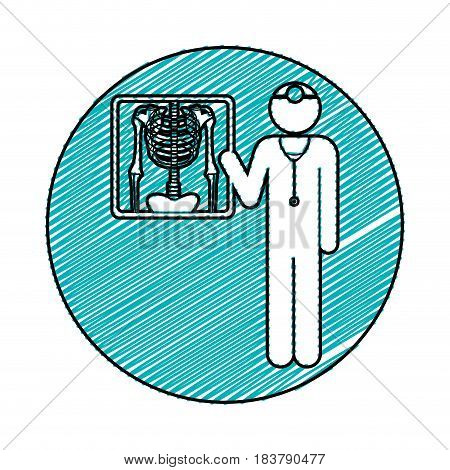 color pencil drawing circular frame of pictogram doctor and radiography vector illustration