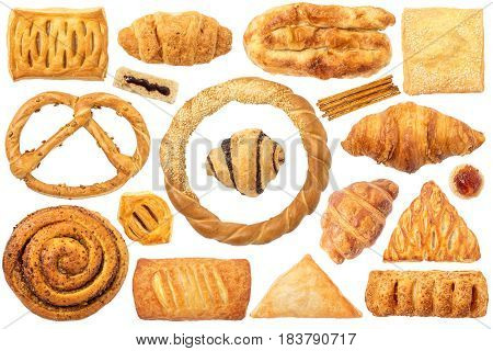 Pastry Isolated on White Background. This set contain pastry with: cheese apple sesame pizza. Also have: pretzel with seeds sesame bagel croissant sticks bread with jam.